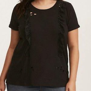 NWOT Torrid Black Lace Distressed Shirt